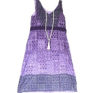 1X Athleta Dress | Purple Patterned V Neck